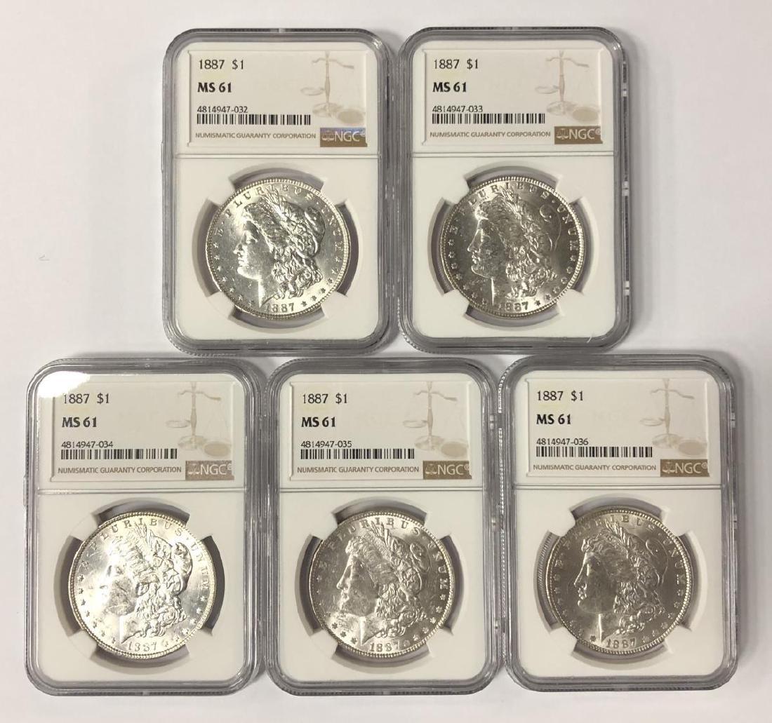 Investor Lot of 5 1887 Morgan Silver $1 NGC MS61