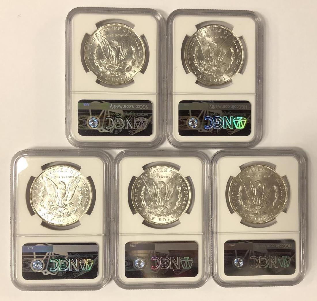 Investor Lot of 5 1887 Morgan Silver $1 NGC MS61 - 2