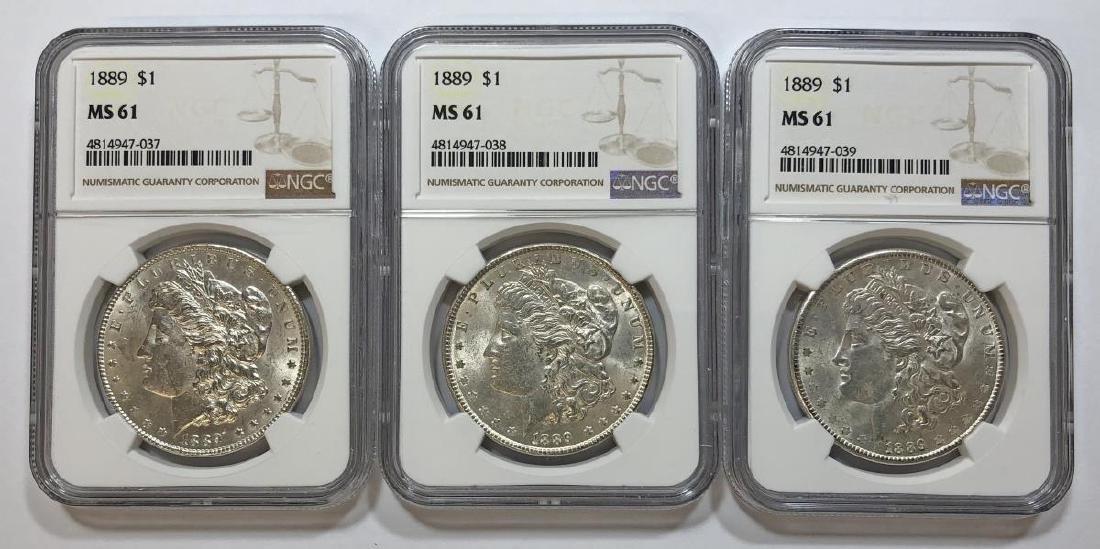 Trio of 1889 Morgan Silver $1 NGC MS61