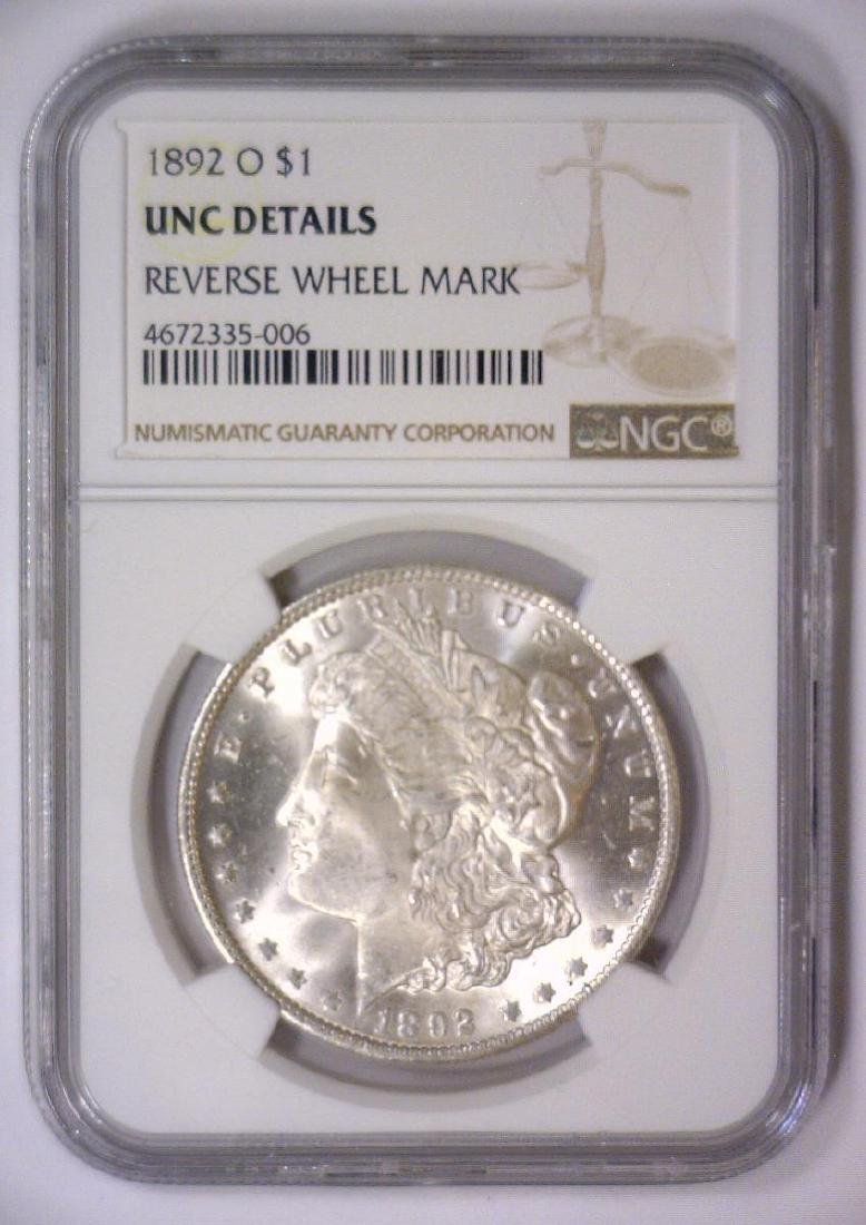 1892-O Morgan Silver Dollar NGC UNC details - 2