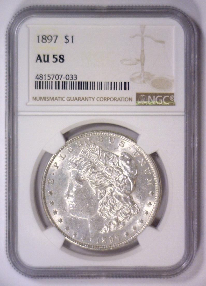 1897 Morgan Silver Dollar NGC AU58 - 2