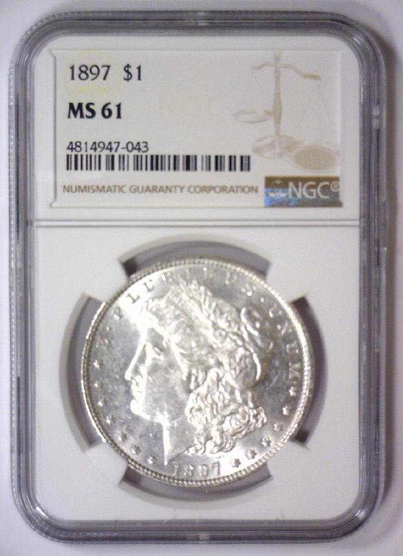 1897 Morgan Silver Dollar NGC MS61 - 2