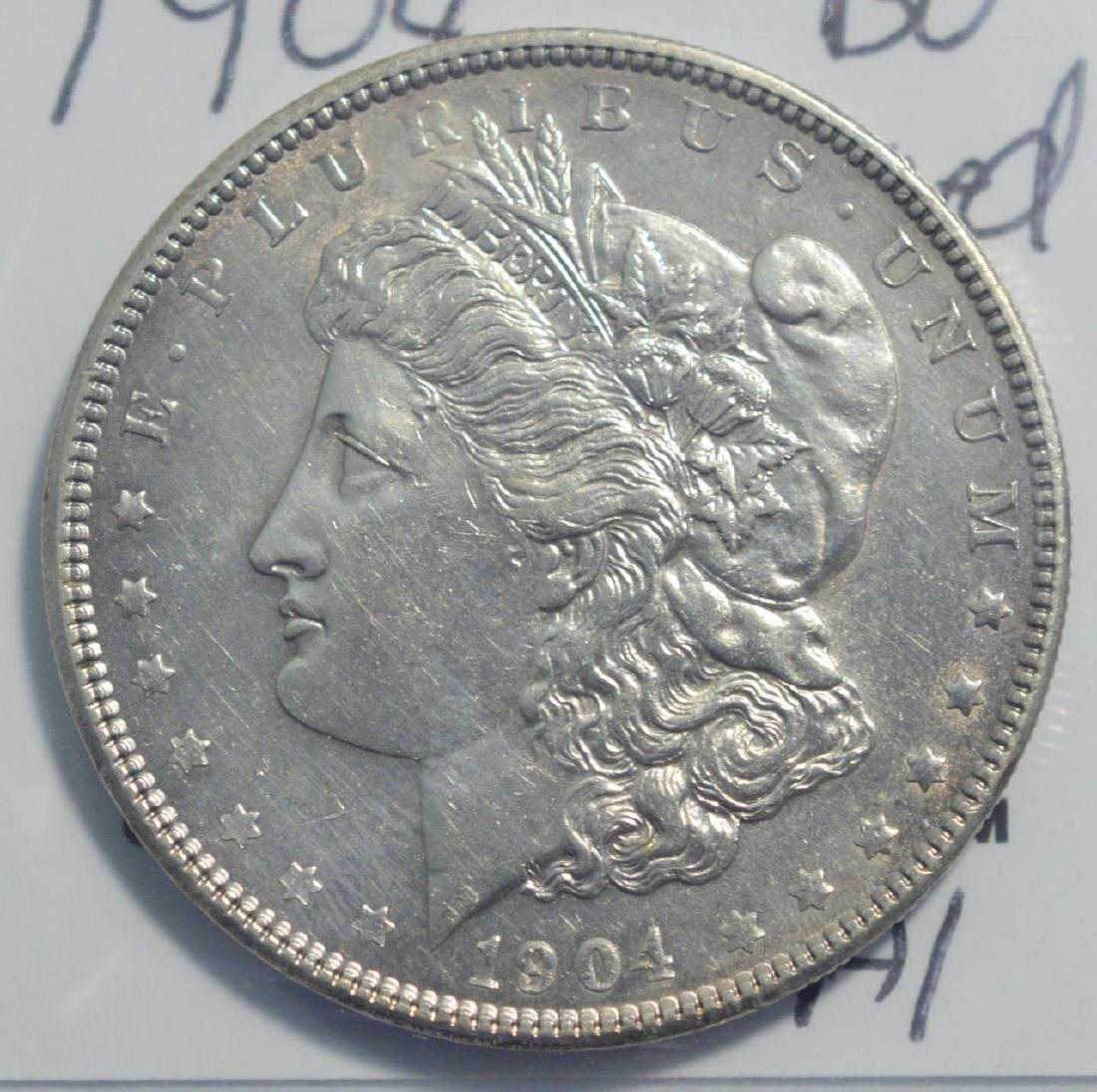 1904 Morgan Silver Dollar BU lightly cleaned