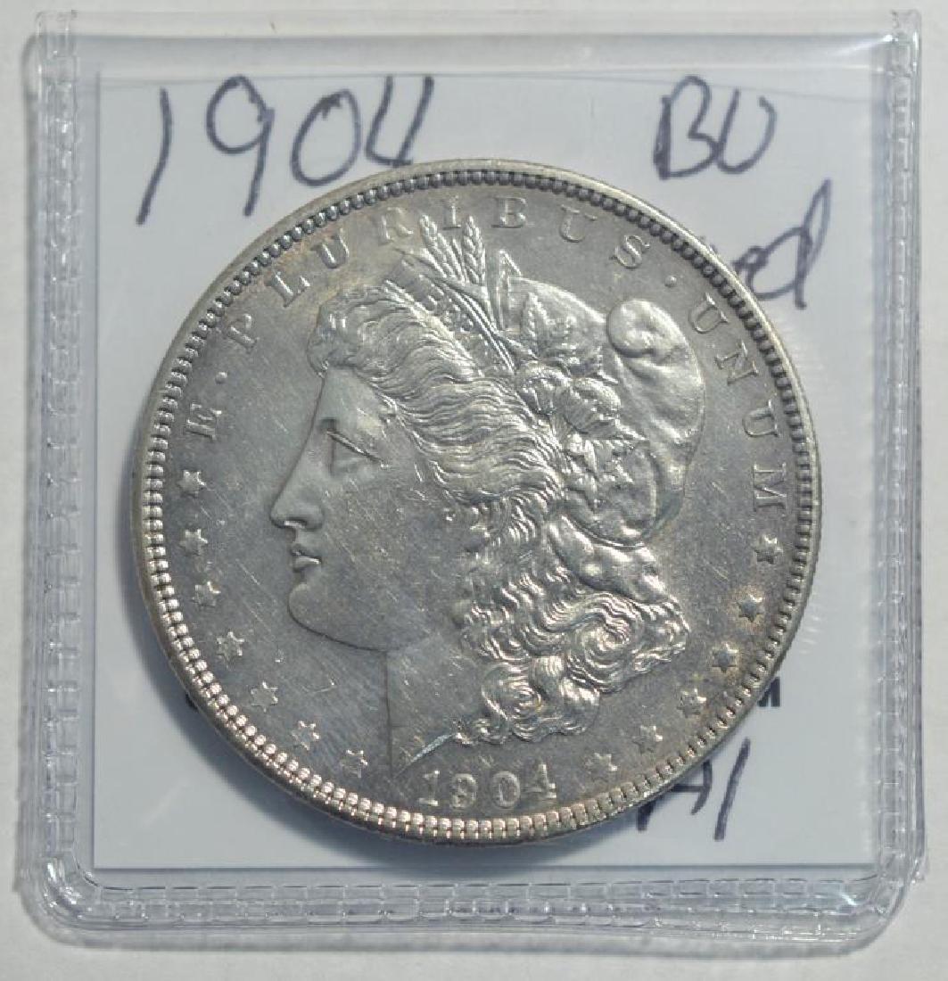 1904 Morgan Silver Dollar BU lightly cleaned - 2