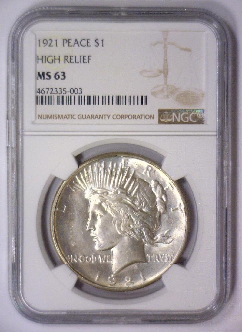 1921 Peace Silver High Relief Dollar NGC MS63 - 2