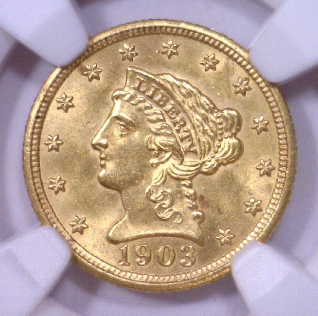 1903 $2.5 Gold Quarter Eagle NGC UNC details R/S