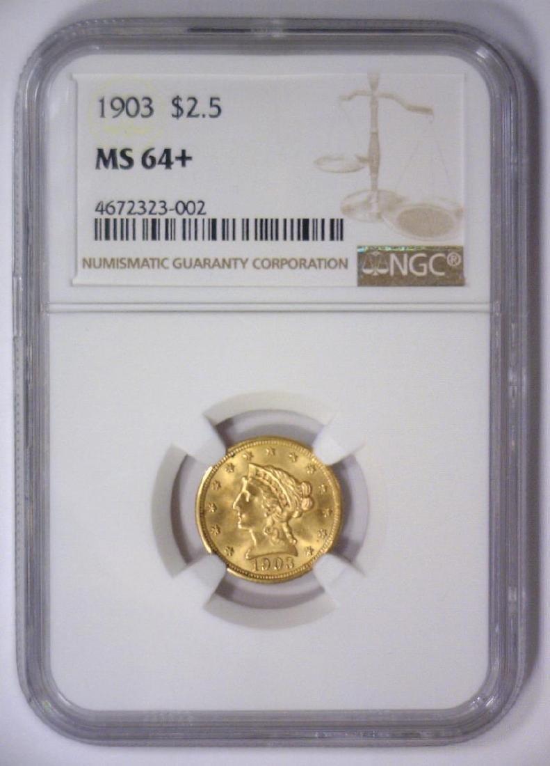 1903 $2.5 Liberty Gold Quarter Eagle NGC MS64+ - 2