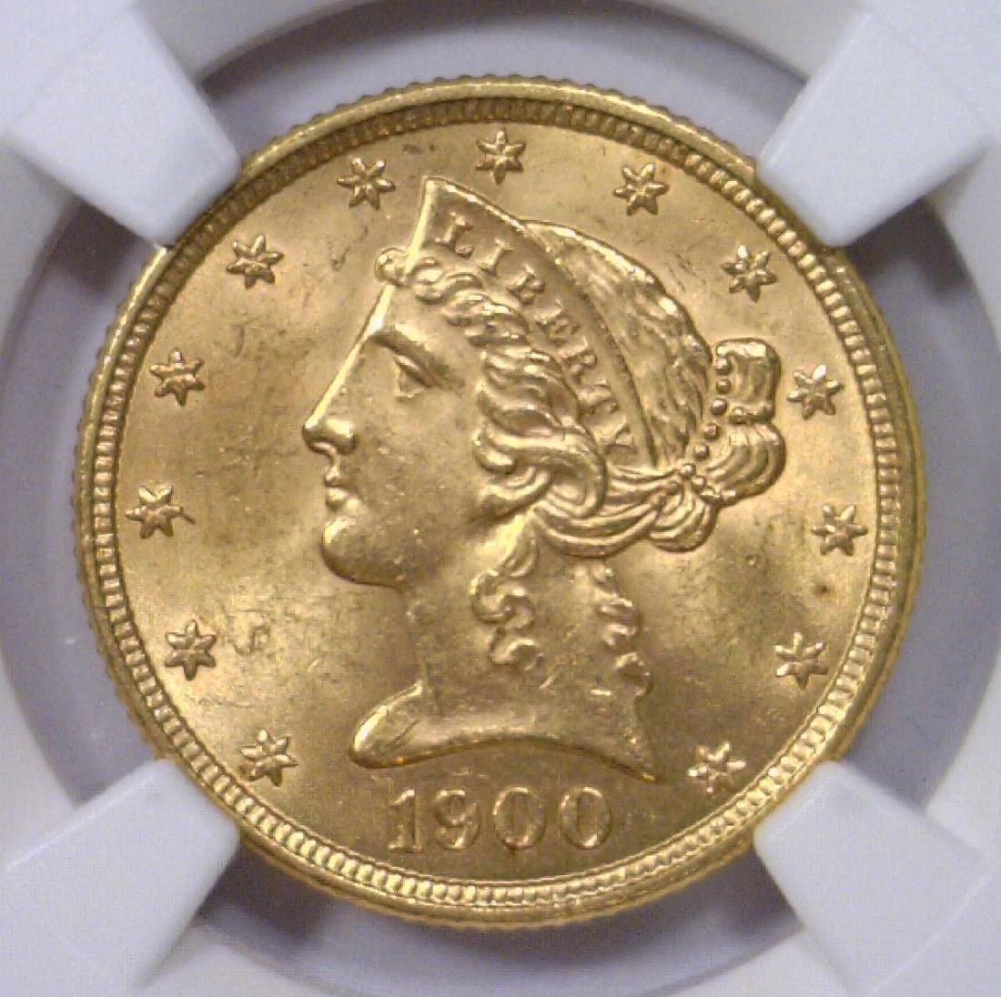 1900 $5 Liberty Head Gold Half Eagle NGC MS63
