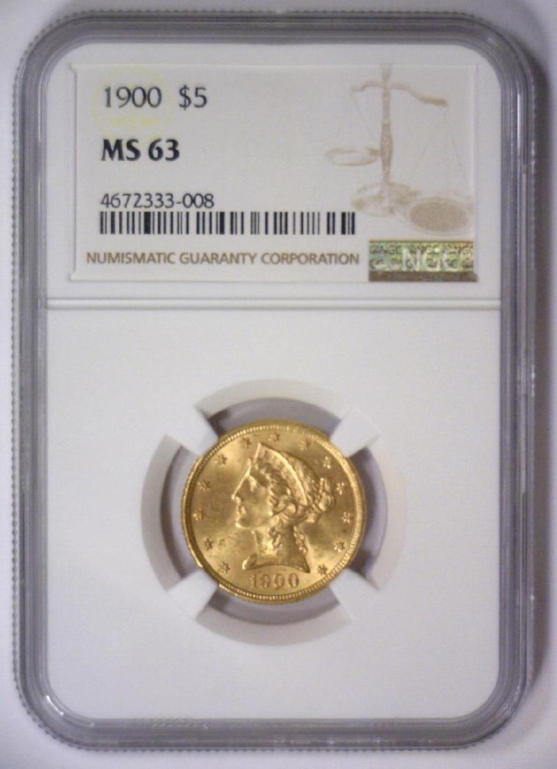 1900 $5 Liberty Head Gold Half Eagle NGC MS63 - 2