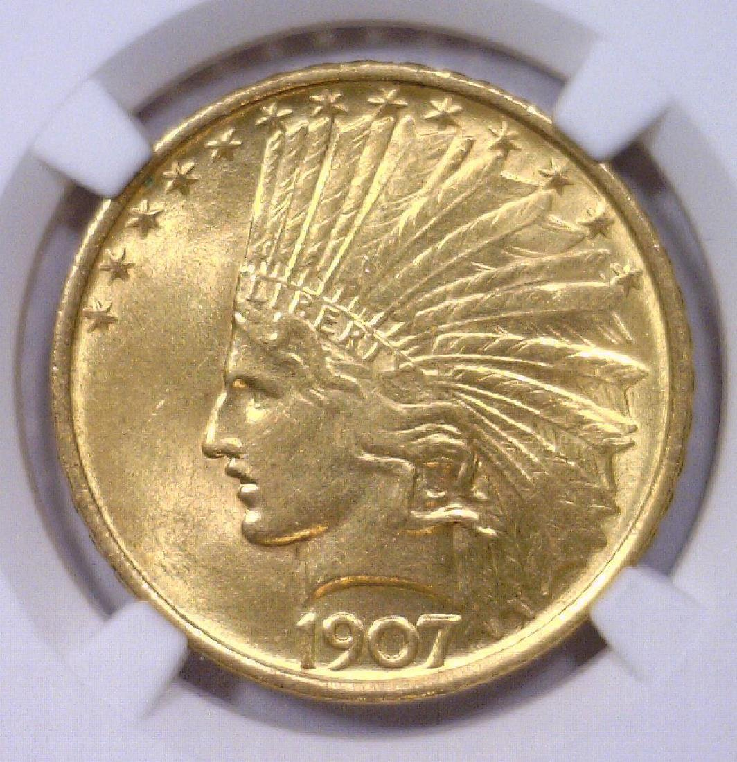 1907 $10 Indian Head Gold Eagle NGC MS61
