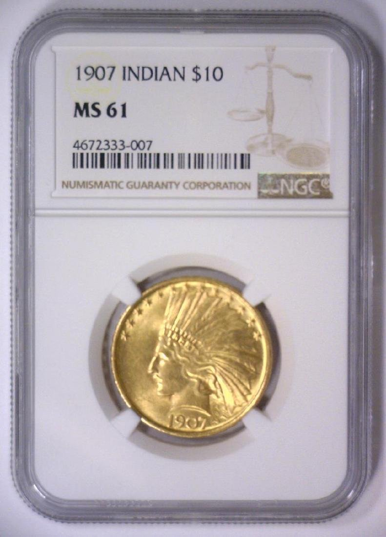 1907 $10 Indian Head Gold Eagle NGC MS61 - 2