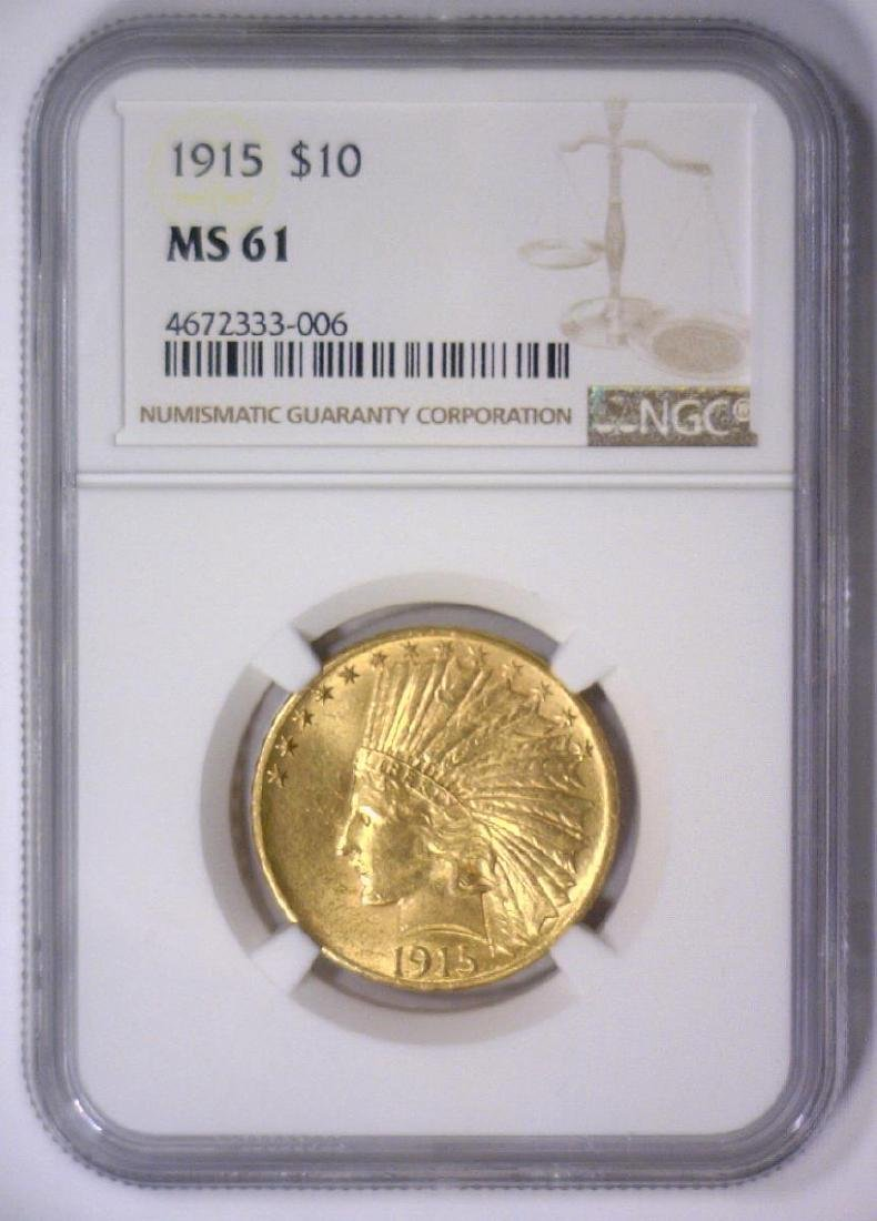 1915 $10 Indian Head Gold Eagle NGC MS61 - 2