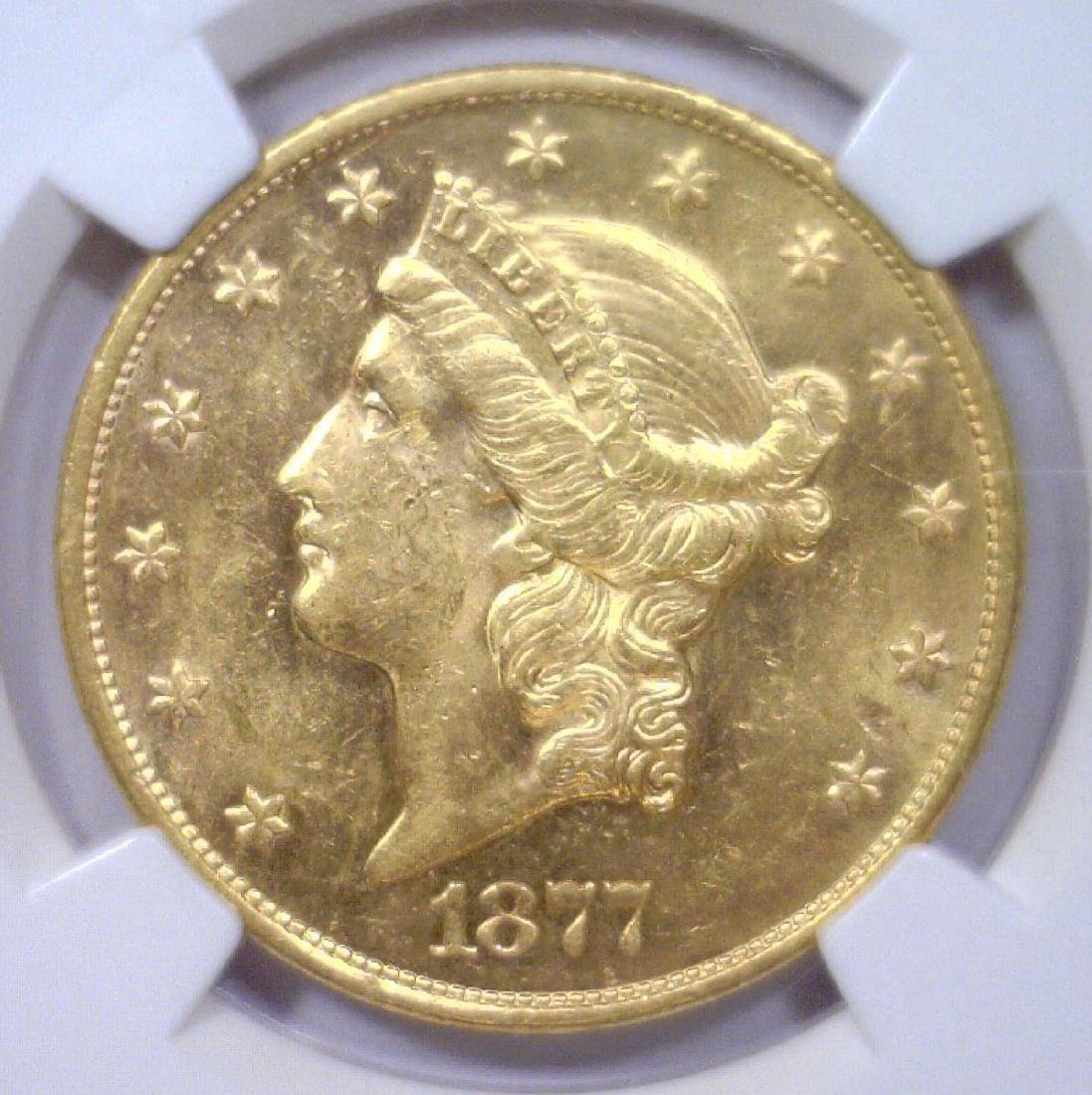 1877-S $20 Liberty Gold Double Eagle NGC AU58