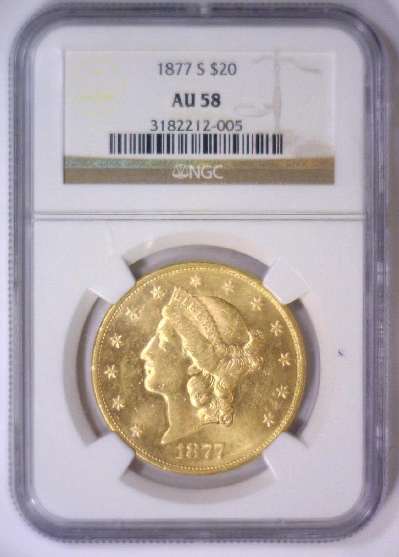 1877-S $20 Liberty Gold Double Eagle NGC AU58 - 2