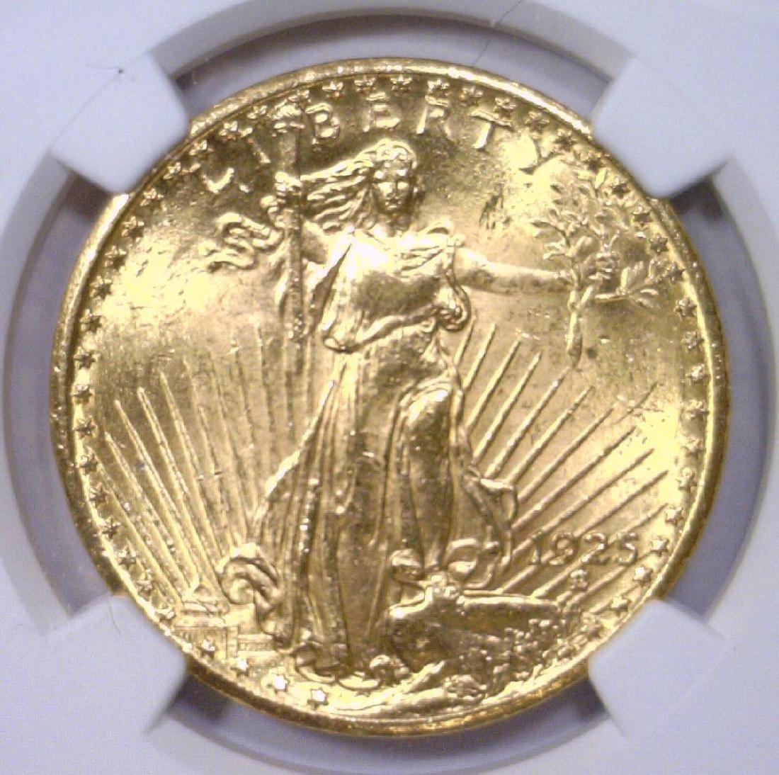 1925 $20 St Gaudens Gold Double Eagle NGC UNC det.