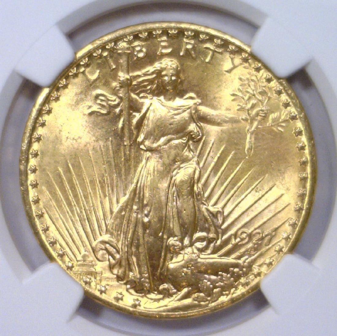 1927 $20 St Gaudens Gold Double Eagle NGC UNC det.