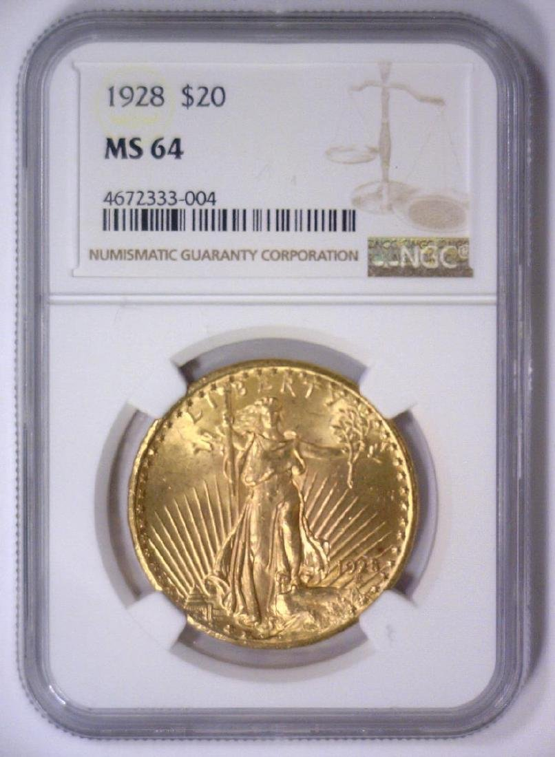 1928 $20 St Gaudens Gold Double Eagle NGC MS64 - 2