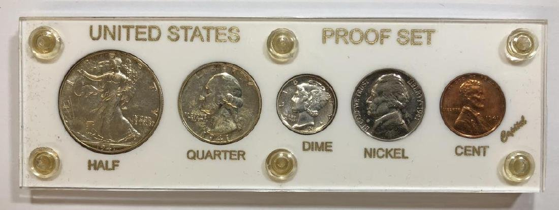 1941 Silver 5-coin Proof Set Cent to Half