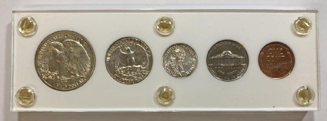1941 Silver 5-coin Proof Set Cent to Half - 2