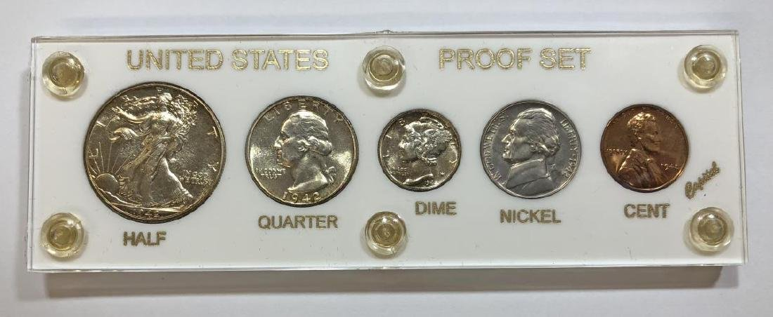 1942 Silver 5-coin Proof Set Cent to Half