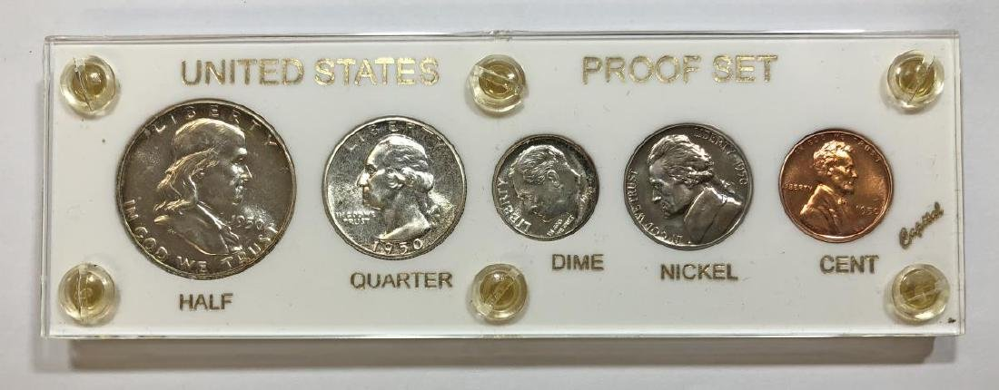 1950 Silver 5-coin Proof Set Cent to Half