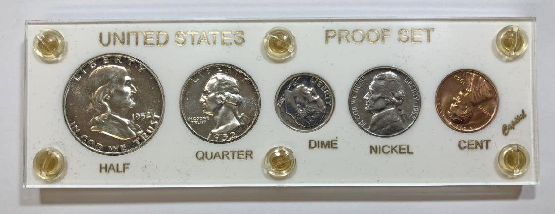 1952 Silver 5-coin Proof Set Cent to Half