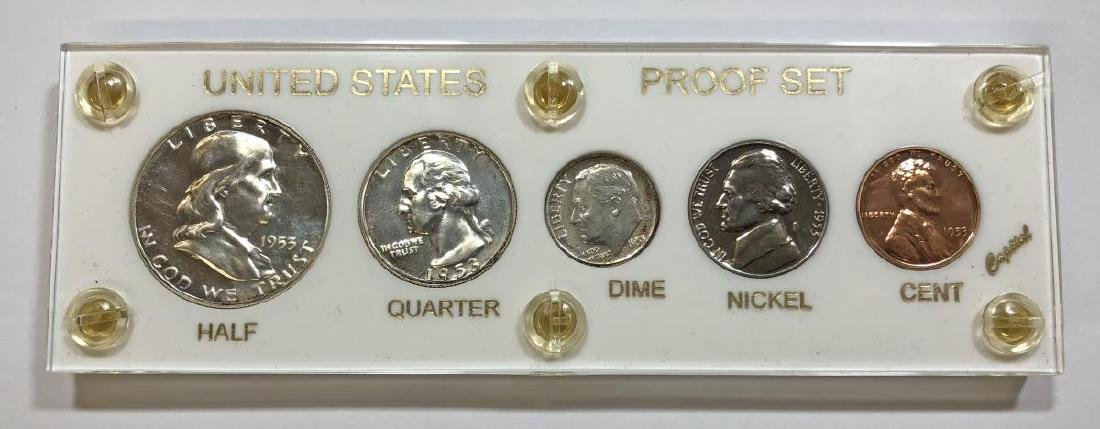 1953 Silver 5-coin Proof Set Cent to Half