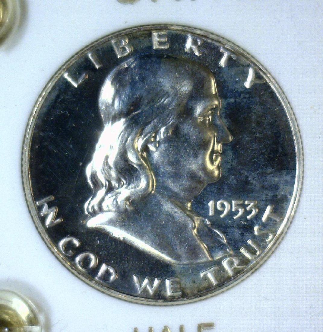 1953 Silver 5-coin Proof Set Cent to Half - 3