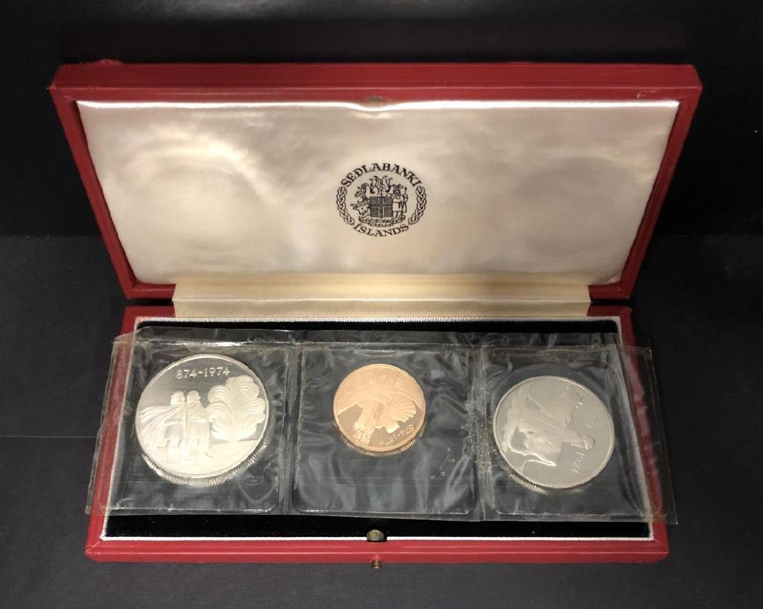 1974 Iceland Silver & Gold 3-coin Proof Set w/Case