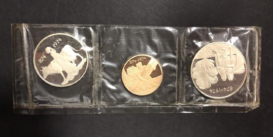 1974 Iceland Silver & Gold 3-coin Proof Set w/Case - 2