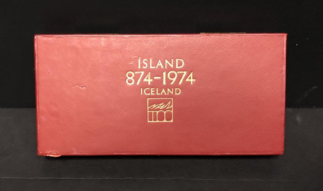 1974 Iceland Silver & Gold 3-coin Proof Set w/Case - 4