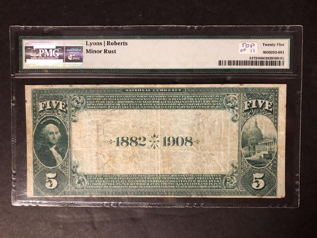 1882 $5 Pensacola Natl. Date Back #5603 PMG VF25 - 2
