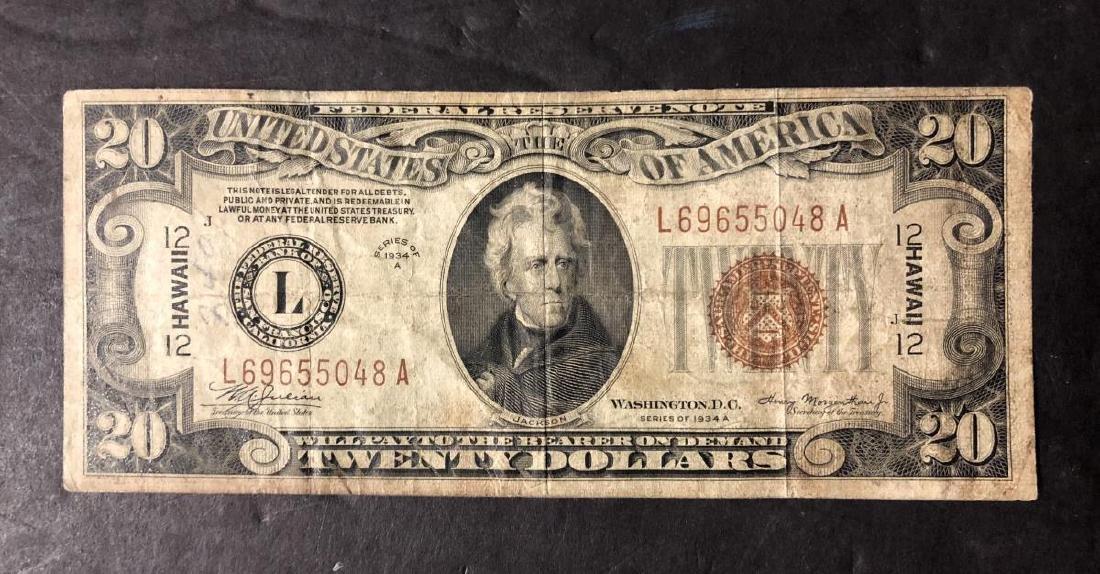 1934-A $20 FRN WW2 Note HAWAII Overprint Circ.