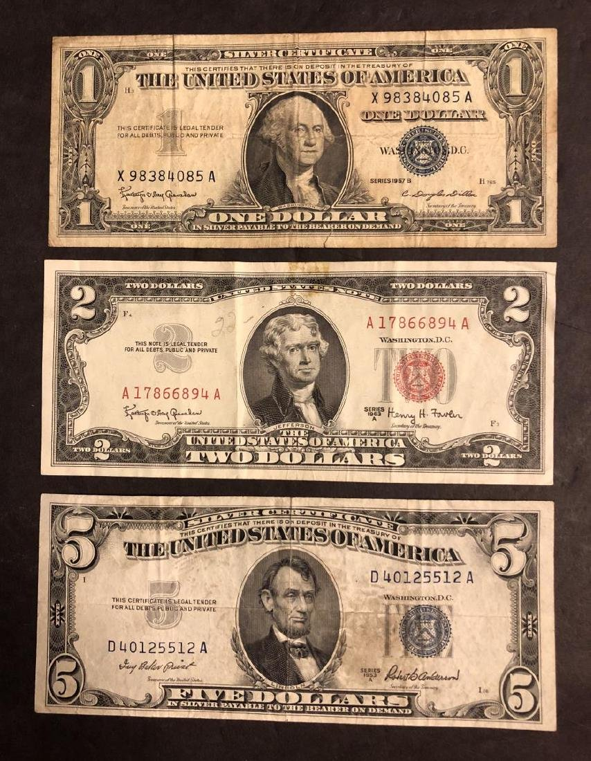 Trio of Notes $1 $5 Silver Certificate $2 Red Seal