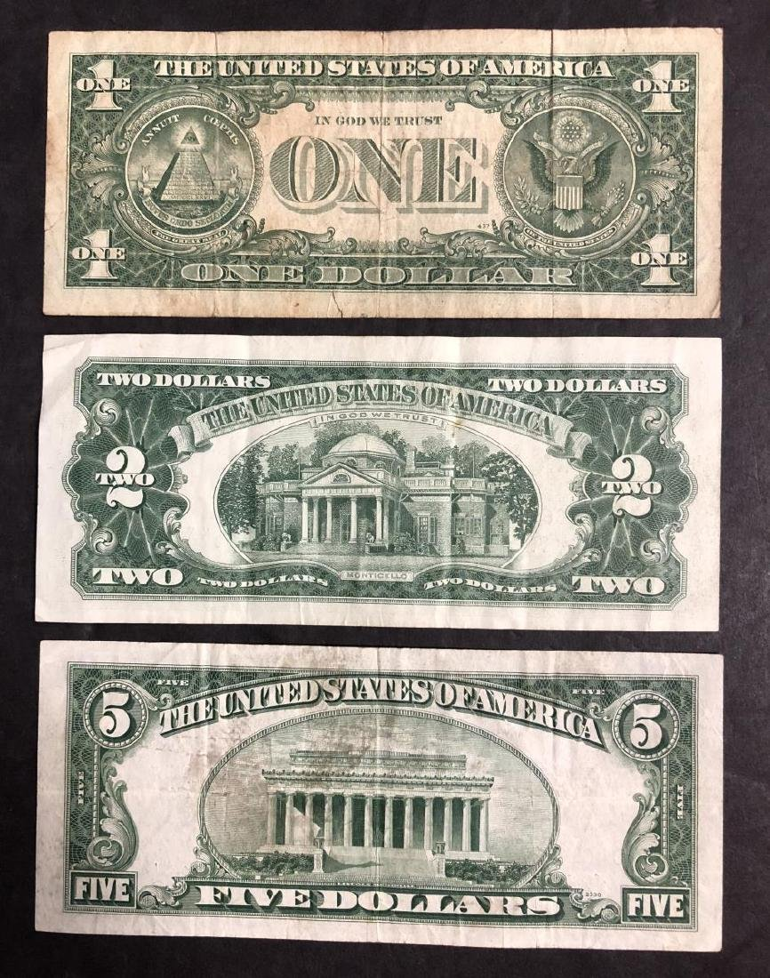Trio of Notes $1 $5 Silver Certificate $2 Red Seal - 2