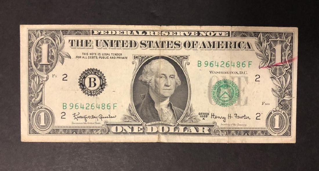 1963-A $1 FRN Smear Error w/BEP Rejection Mark - 2