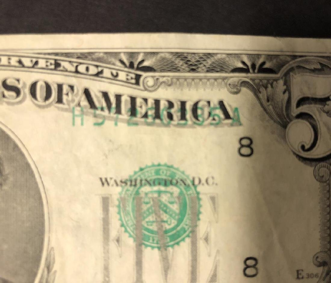 1985 $5 FRN Note Faulty Alignment Error - 3