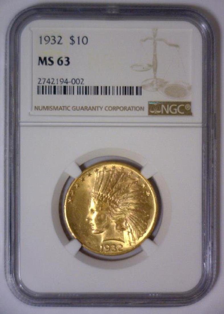 1932 $10 Indian Gold Eagle NGC MS63