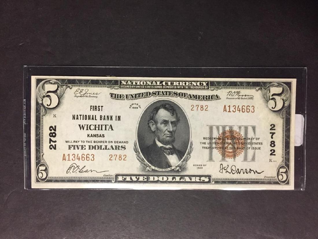 1929 $5 First National Bank of Wichita KS Crisp CU