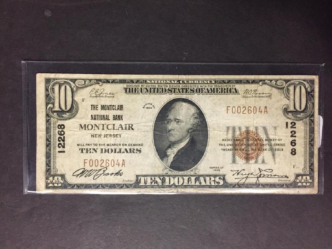 1929 $10 Montclair Natl. Bank of Montclair NJ Fine