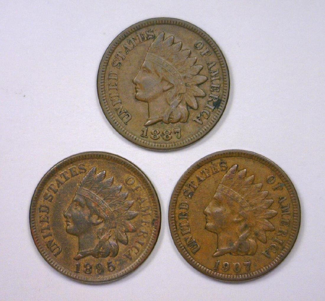 1887 1895 1907 Indian Head Cent Trio XF/AU