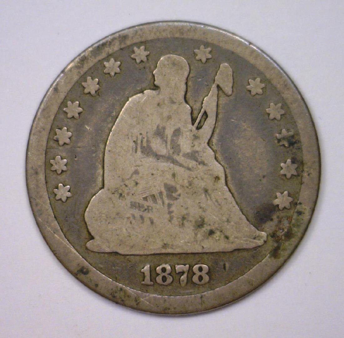 1878-CC Seated Liberty Silver Quarter G Good