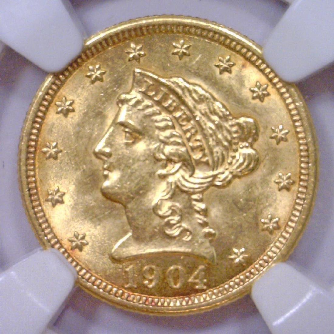 1904 $2.5 Liberty Head Gold Quarter Eagle NGC MS62