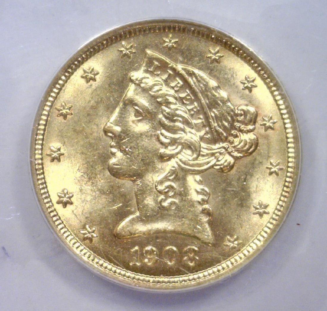 1908 $5 Liberty Head Gold Half Eagle ANACS MS61