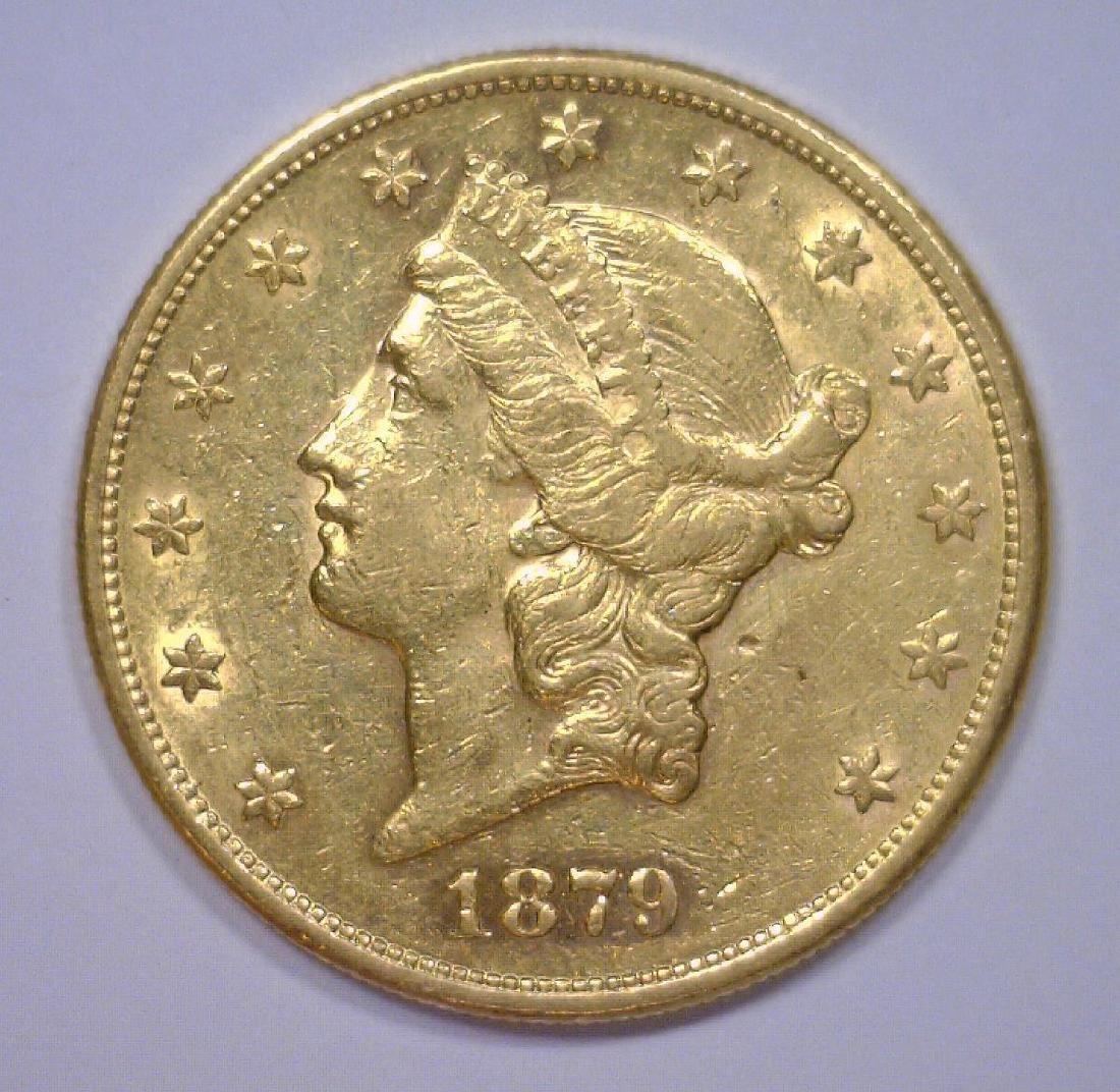 1879-S $20 Liberty Head Gold Double Eagle AU