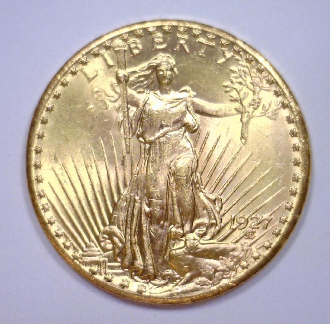 1927 $20 St. Gaudens Gold Double Eagle BU 63