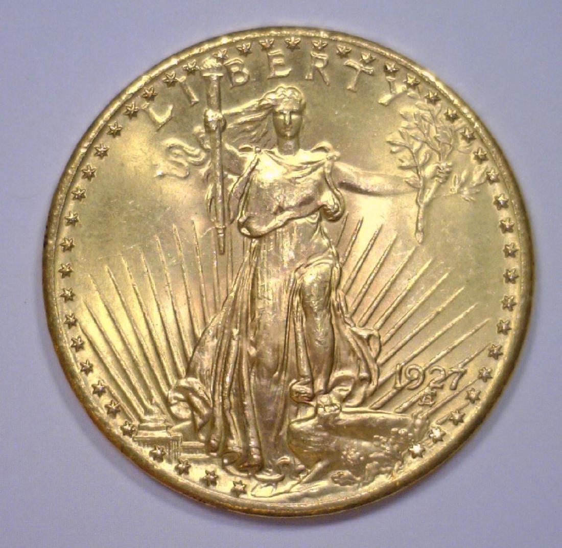 1927 $20 St. Gaudens Gold Double Eagle BU63