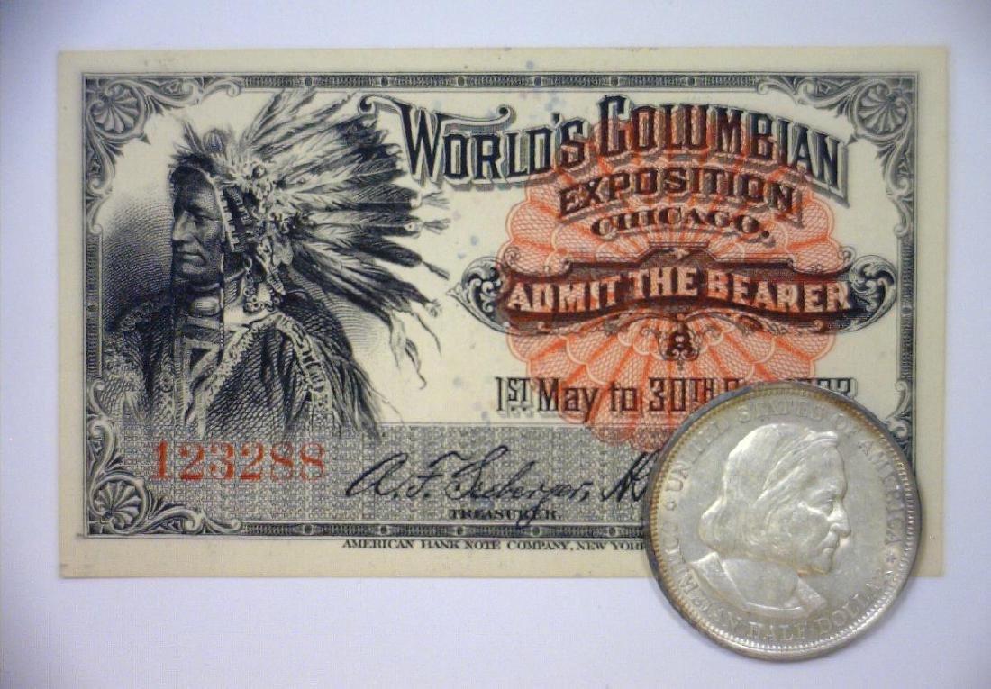 1893 Columbian Silver Half AU + Expo Ticket