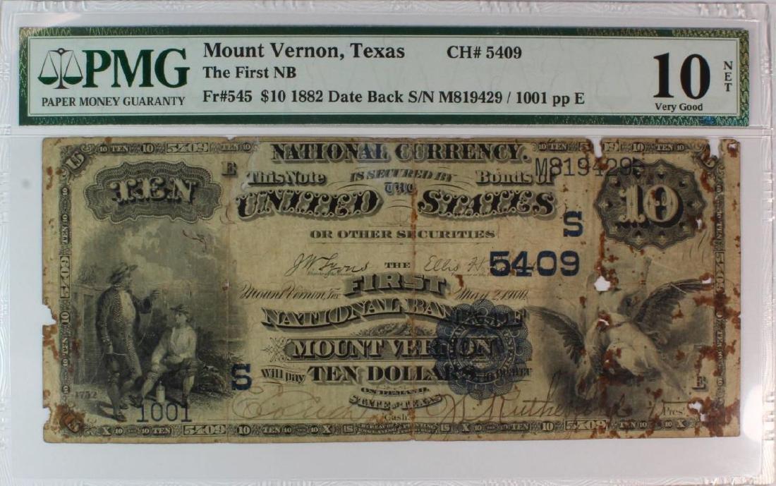 1882 $10 National DB Mount Vernon TX PMG VG10 5409