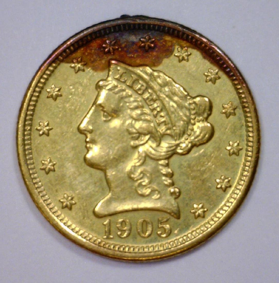 1905 $2.5 Liberty Gold Quarter Eagle XF Cleaned